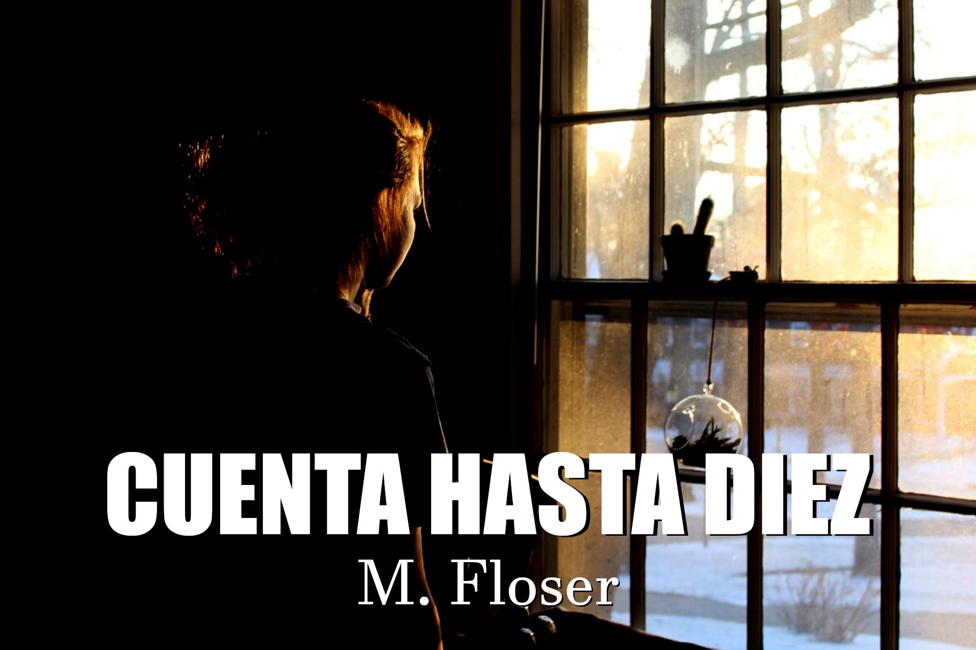 En la imagen vemos a una mujer en una sala oscura, iluminada por la luz del atardecer que entra por un ventanal por el que mira al exterior.