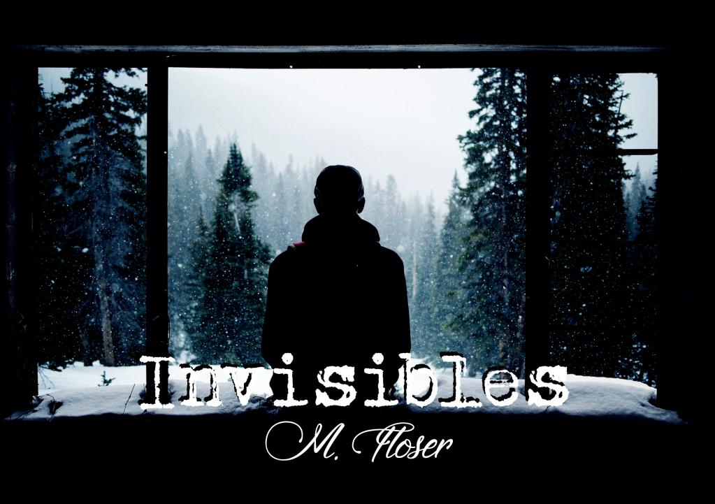 """En la imagen vemos una silueta de espaldas frente a una ventana grande. En el exterior está nevando y hay un bosque de abetos.  El título del relato es: """"Invisibles""""."""