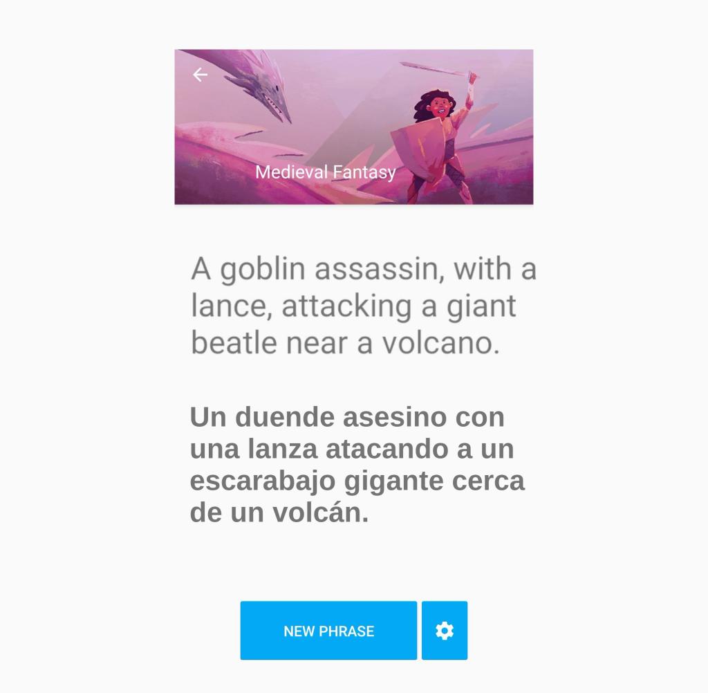 Es una captura de pantalla de la aplicación What to Draw, en ella la aplicación me propone el siguiente tema:  Un duende asesino con una lanza atacando a un escarabajo gigante cerca de un volcán.