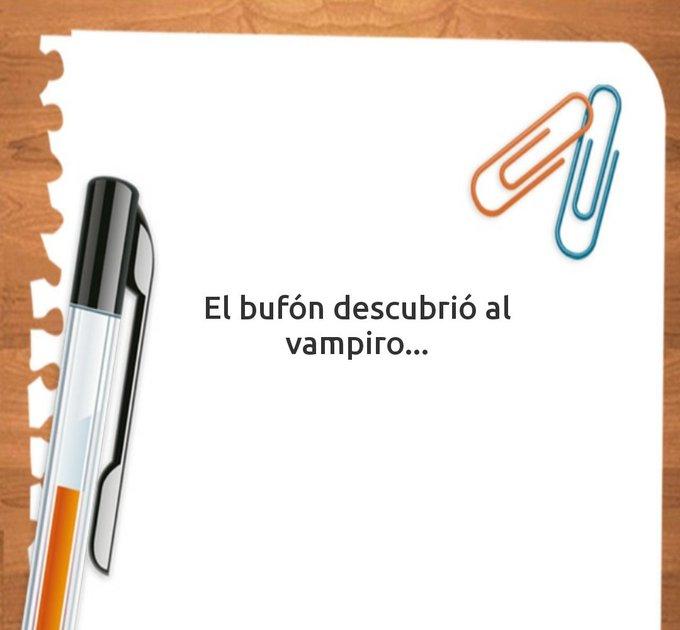 """Captura de pantalla de la aplicación """"Ideas para escribir"""" con el inicio que me sugiere. Debo empezar el relato con la frase """"La bufona descubrió a la vampira""""."""