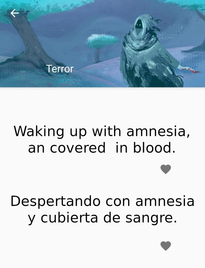 """Captura de pantalla de la aplicacción """"What to draw?"""". En ella la aplicación me propone el tema: """"Despertando con amnesia y cubierta de sangre""""."""
