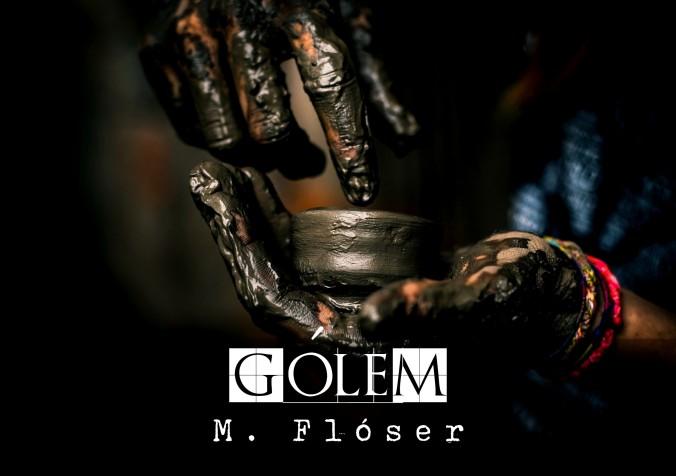 Manos de mujer llenas de barro. Tiene un recipiente en la mano, también lleno de barro. Parece que está moldeando algo. El título del relato es Gólem.