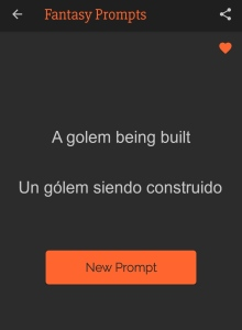 """Captura de pantalla de la aplicación Art Prompts que propone el tema """"Un gólem siendo construido""""."""