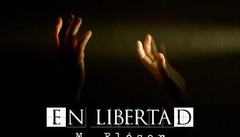 Dos manos en la oscuridad se alzan y son iluminadas por un haz de luz, el único punto luminoso que se ve en la imagen, parece que las manos quieran tocar la luz. El relato se titula: En libertad.