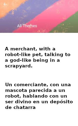 """Captura de pantalla de la aplicación What to Draw, nos propone el tema «Un comerciante, con una mascota parecida a un robot, hablando con un ser divino en un depósito de chatarra».""""."""