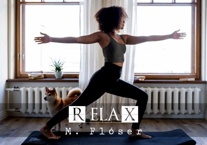 Una mujer afrodescendiente hace yoga en su salón, a su lado hay un perro de la raza akita ino, es un perro con la cara muy dulce, con la cola hacia arriba, tan retorcida que la punta le toca el lomo. De fondo hay dos ventanales grandes, por los que entra una luz muy bonita que ilumina el salón. El relato se titula: «Relax».