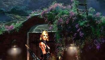 Vemos una ilustración, en primer plano una mujer rubia, fuerte, con un arco y unas flechas. Tras ella un bosque iluminado por la luna llena. Todo tiene un aura de magia y misterio. El relato se titula «El último de los unicornios» y está escrito por Helly Raven.