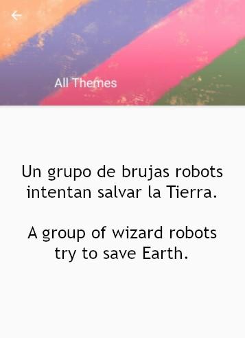 """Una captura de pantalla de la aplicación What to Draw en la que me propone el tema """"Un grupo de brujas robots intentan salvar la Tierra""""."""