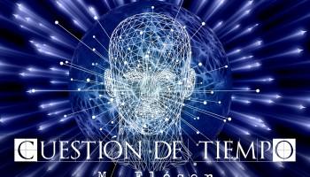 Vemos una cabeza hecha de forma digital a base de polígonos y puntos. Tiene facciones, pero no están del todo definidas, solo es un conjunto de líneas luminosas. La cabeza flota en un espacio de líneas. Es una inteligencia artificial. El relato se titula: Cuestión de tiempo.